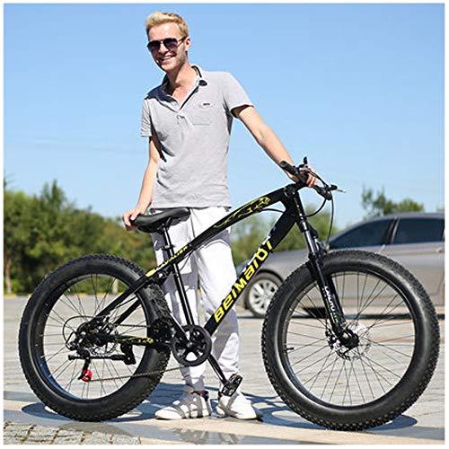LDLL Bicicleta de montaña24/26 Pulgadas, Doble Freno Disco Bicicletas de montaña Ruedas Anchas, Mountain Bike para Hombre y Mujer