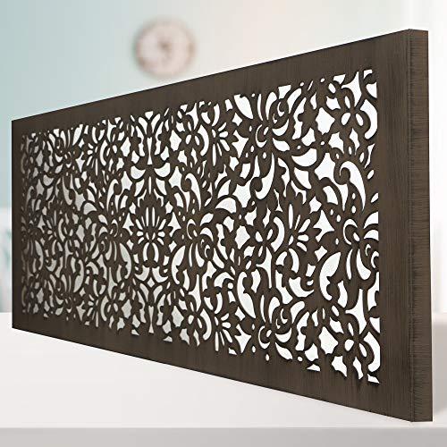 Cuadro Mandala de Pared Calada, Fabricado Artesanalmente en España, Decorado a Mano - Cuadro Decoración Modelo Mosaico 154 -para Salón, Dormitorio, Pasillo, Baño (Nogal, 60x120 cm)