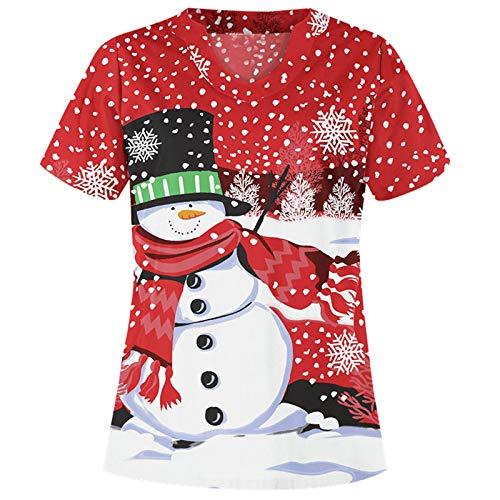 Dasongff Schlupfhemd Kasack Weihnachten Weihnachtsmann Elch Schneeflocke Schneemann Schlupfkasack V-Ausschnitt Kurzarm Arbeitskleidung mit Big Tasche (Red-A, S)