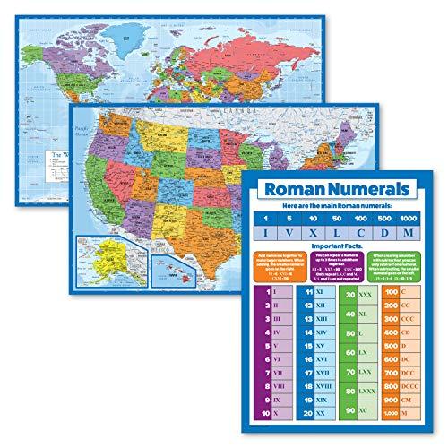 "3 Pack - World & USA Map Poster Set [Blue Ocean] + Understanding Roman Numerals Chart for Kids (Laminated, 18"" x 29"")"
