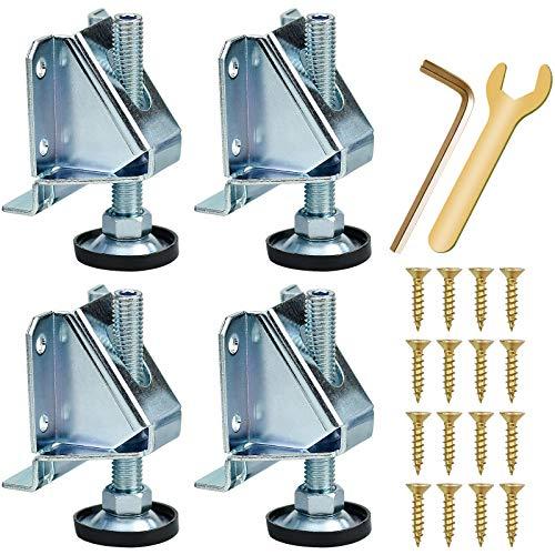 TDDL 4 Unidades Nivelador de Muebles Ajustable Resistente, M10 Patas de Nivelación con Tuercas de Bloqueo para Mesas, Estanterías, Armarios, Banco de Trabajo