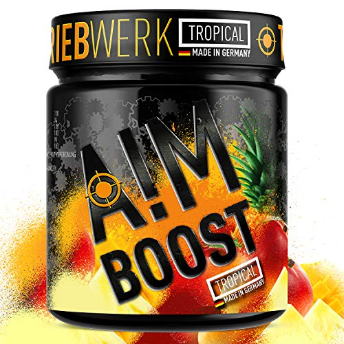 AIM BOOST | Tropical | 40 Portionen | 23 Wirkstoffe | 247mg Koffein + Tyrosin +Theanin + Vitamine…