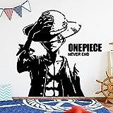 Anime Cartoon Manga Movie One Piece Sombrero de paja Pirate Monkey D. Luffy Vinilo Etiqueta de la pared Calcomanía para coche Boy Fans Dormitorio Sala de estar Club Decoración para el hogar Mural