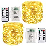 [2 Pack] Fairy String Lights Battery Powered, 10M 100 LED Outdoor Waterproof Garden Light, 8 Modes with Remote Timmer,Twinkle Copper Wire Lighting for Gazebo Party Room Outside Xmas Decor(Warm White)