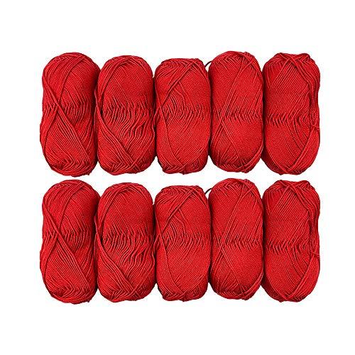 TRICOT CAFE' Offerta Gomitoli di Cotone Cotone Stock in Confezione da 10pz Made in Italy 100% Cotone/Rosso 7288