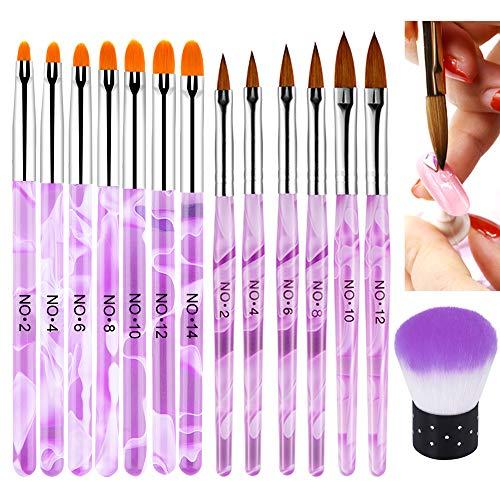 EBANKU 14 PCS Pinsel für Gelnägel, Nägel Pinsel NäGel Pinselset Professional Acryl Pinsel FüR NäGel Gel NäGel Malerei Zeichnen Werkzeuge Tragbar GelnäGel ZubehöR