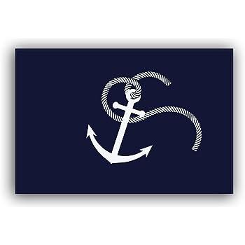 Drehome Nautical Anchor Welcome Monogram Non-Slip Doormat Non-Woven Fabric Floor Mat Indoor Entrance Rug Decor Door Mat 23.6x15.7 Inches