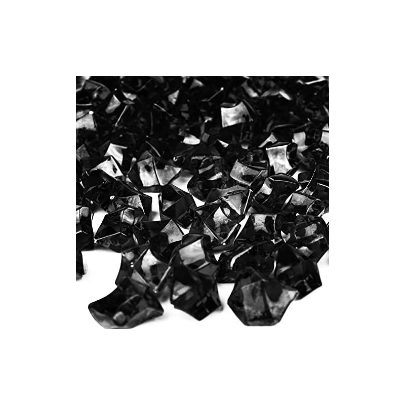 silk flower arrangements cys excel acrylic black crushed ice vase fillers (approx. 180-190 pcs, 3 cups) | multiple color choices plastic crushed glass for arts & crafts | acrylic rock gems table scatter