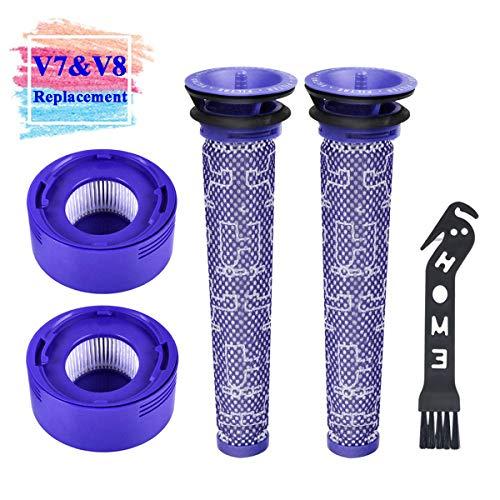 Filtros de Repuesto Lavables para Dyson Aspiradora Inalámbrica V7 V8 Animal y Absolute, 2PCS Pre Motor Filtros, 2PCS Post Motor HEPA Filtros y 1PC Herramienta de Limpiar