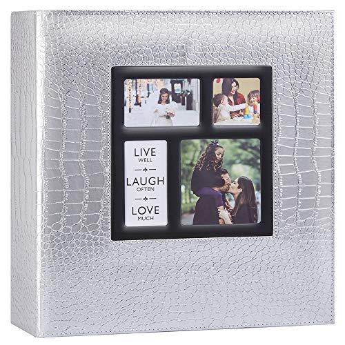 Ywlake Álbum de fotos con 1000 bolsillos para fotos de 15 x 10 cm, diseño de cocodrilo, tamaño extra grande, con funda de piel, para bodas, álbumes de fotos de 1000 fotos de 10 x 15 cm, color plateado