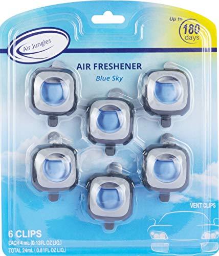 Air Jungles New Car Scent Car Air Freshener Clip(Blue Sky), 6 Car Freshener Vent Clips, 4ml Each, Long Lasting Air Freshener for Car, Up to 180 Days Car Refresher Odor Eliminator