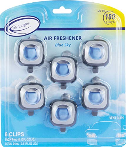 Air Jungles New Car Scent Car Air Freshener Clip(Blue Sky), 6 Car Freshener Vent Clips, 4ml Each, Long Lasting Air Freshener for Car, Up to 180 Days Car Refresher Odor Eliminator