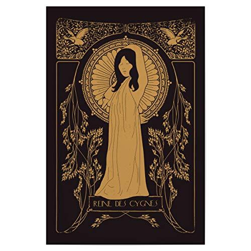 artboxONE Poster 30x20 cm Illustration Reine des Cygnes hochwertiger Design Kunstdruck - Bild Jugendstil Gold 20er