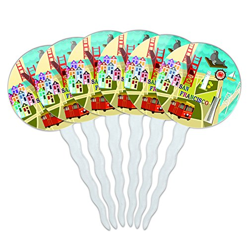 Set of 6 Cupcake Picks Toppers Decoration Places and Things - San Francisco Golden Gate Bridge Bay Pier 39