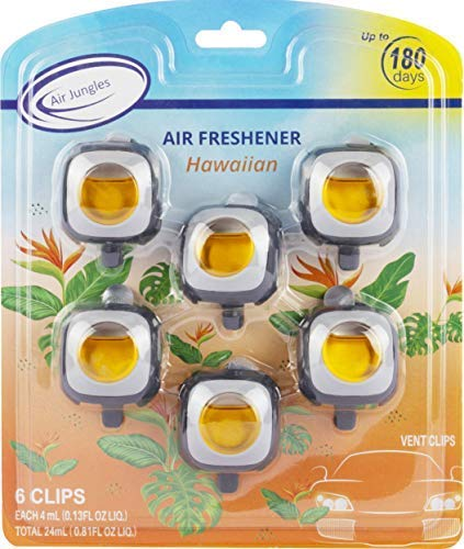 Air Jungles Hawaiian Scent Car Air Freshener Clip, 6 Car Freshener Vent Clips, 4ml Each, Long Lasting Air Freshener for Car, Up to 180 Days Car Refresher Odor Eliminator