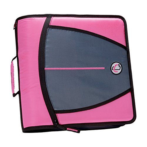 Case-it The Mighty Zip Tab Zipper Binder - 3 Inch O-Rings - 5 Pocket Expanding File Folder - 600 Sheet Capacity – Pink
