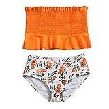 Shan-S Teen Kids Girls High Waist Swimsuit Strapless Ruffle Bathing Suit Bandeau Two Piece Split Swimwear Smocked Bikini