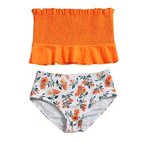 Shan-S Teen Kids Girls High Waist Swimsuit Strapless Ruffle Bathing Suit Bandeau Two Piece Split Swimwear Smocked Bikini Orange