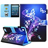 Kindle fire 7 Case - JZCreater Slim Leather Smart Case Cover with Auto Wake/Sleep for Amazon Fire 7 Tablet(7inch Display 5th Generation 2015 & 7th Generation 2017), Purple Butterfly