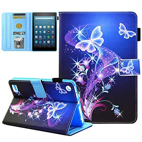 JZCreater - Funda de piel sintética para Kindle Fire 7 (7', pantalla de 5ª generación 2015 y 7ª generación 2017) A06_Purple Butterfly