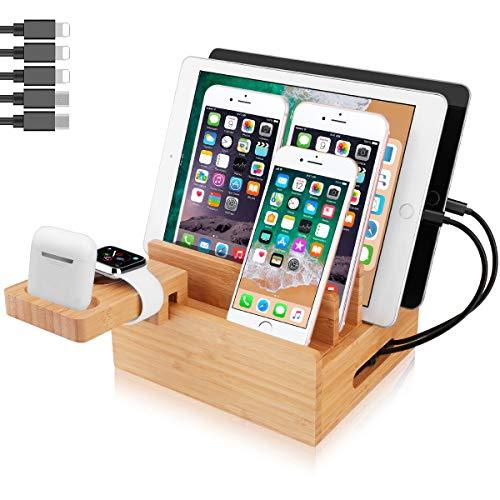 Estación de carga USB de escritorio, estación de acoplamiento de bambú con soporte para reloj para varios dispositivos, iPhone, iWatch, iPad, tableta, teléfono móvil, con 5 cables de carga