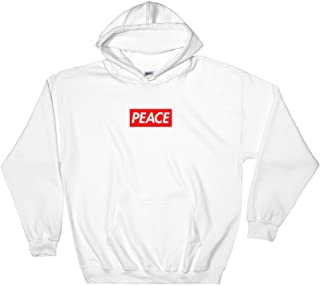 Peace Red Logo Box Hooded Sweatshirt - Bogo Supreme Inspired