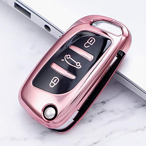 UNJ Para 3 Botones Soft TPU Funda Completa para Llave de Coche para Peugeot Citroen C1 C2 C3 C4 C5 Ds3 Ds4 Ds5 Ds6 Auto Remote Key Shell Accesorios,D-Rosa