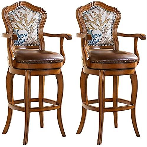 Classico Set di sgabelli da bar-bovina girevole a 360 ° Set di 2, sedile per barra alto in legno con braccioli, comodi sedie a barre antichi sedili pub (Color : Brown)