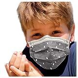 LUCKME Protector bucal desechable 30/50, 3 capas, monocolor, resistente al viento, transpirable, para niños, impresión agradable, elástico, filtro de protección facial, Rosa Star-50, Talla única