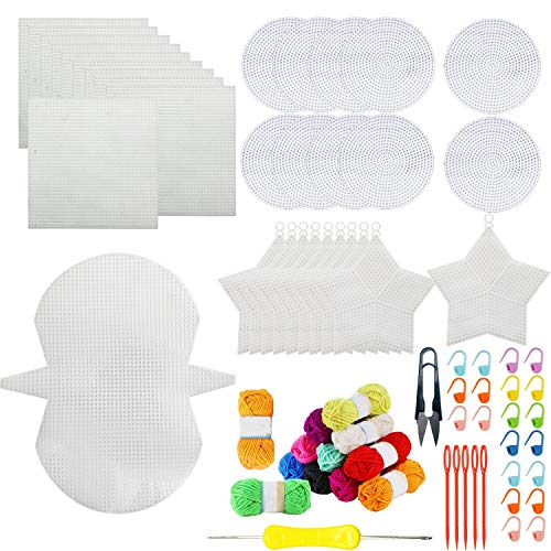 Seasonsky Mesh Plastic Canvas Sheets for Embroidery, Acrylic Yarn Crafting, Knit and Crochet Projects, Shell Bag