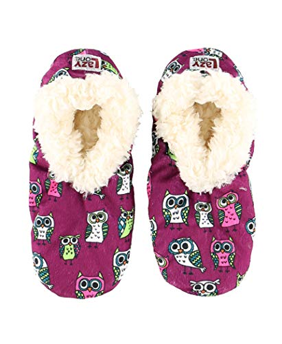 Lazy One Fuzzy Feet Slippers for Women, Cute Fleece-Lined House Slippers, Owl, Non-Skid