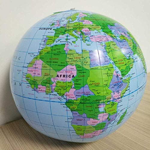 meixiang Globo Mundial Inflable, Aprendizaje De La Bola De Mapa Geográfico, Ocean Earth Beach Ball Azul