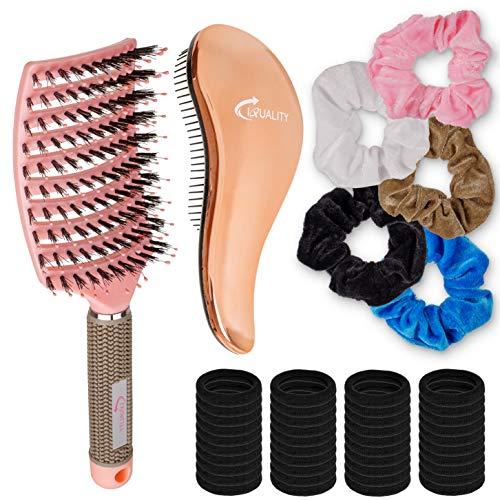 IQUALITY Haarstyling Set mit entwirr Haarbürste (Wildschweinbürste), 5 Samthaargummis + 33 dünnen schwarzen Haargummis | Styling-Haarbürste schnelles Föhnen nass + trocken