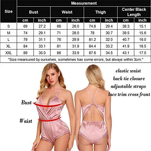 ADOME-Women-Lingerie-Bodysuit-V-Neck-Teddy-Lace-Babydoll-Satin-Pajamas-Nightwear