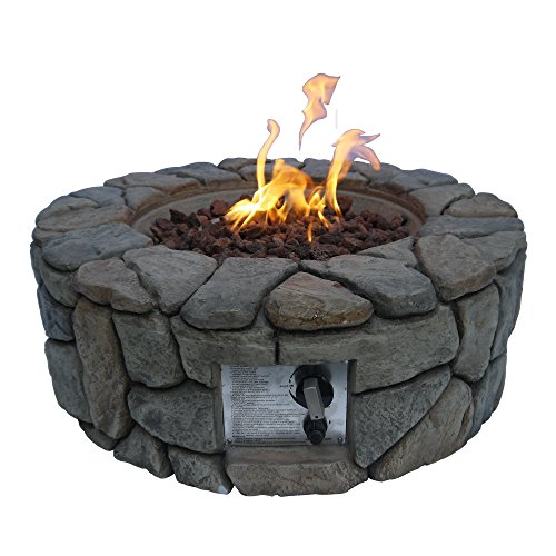 Peaktop Round 28inch Firepit Outdoor Gas Fire Pit Concrete Style, Cover Ignition HF09501AA-UK, Stone Grey