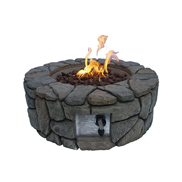 Peaktop Round 28inch Firepit Outdoor Gas Fire Pit Concrete Style