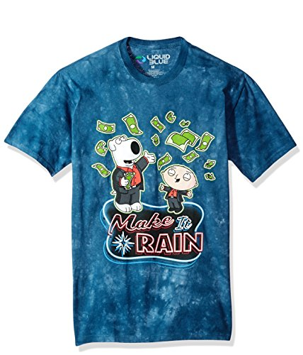 Liquid Blue Unisex-Adult's The Family Guy Make It Rain Money Ss T-Shirt, Blue tie dye, X-Large