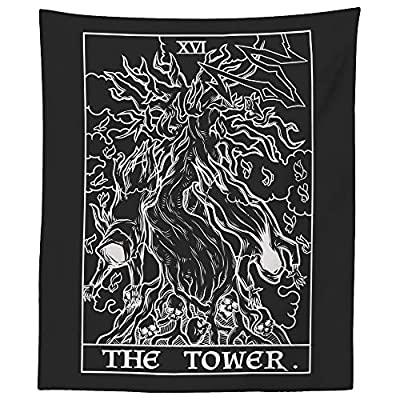 "The Tower Tarot Card Tapestry (Black & White) - Twisted Tree of Life & Skeleton Ghosts - Gothic Halloween Home Decor Wall Hanging (60"" x 50"")"