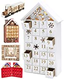 BRUBAKER Calendario de Adviento de Madera Reutilizable para Rellenar - Casa de Nieve Blanca con iluminación LED - Calendario de Navidad DIY 24.3 x 45 x 8 cm