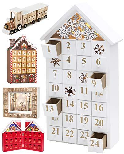 BRUBAKER - Calendrier de l'Avent Lumineux - 24 Tiroirs à remplir - Maison de Neige - Décoration de Noël en Bois - Éclairage LED - 24,3 x 45 x 8 cm - Blanc
