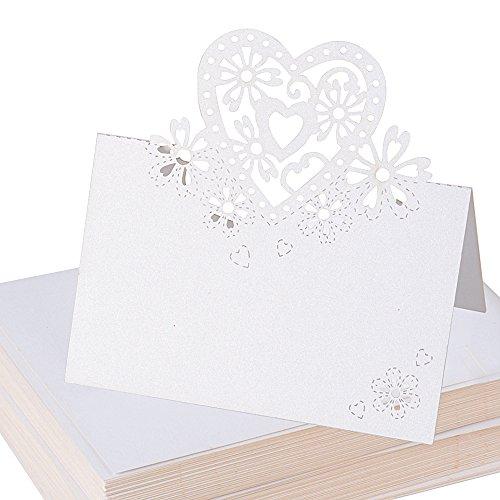 100pcs Carte de Noms en Couer Blanc Nacré Carte Table Marque Place pour Decoration Mariage Fete (11,9 x 8,9cm)