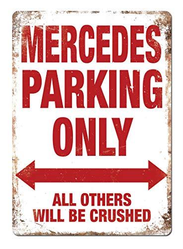 Hunnry Mercedes Parking Only Poster Metall Blechschilder Retro Dekoration Schild Aluminium Blechwaren Vintage Wandkunstplakat Zum Cafe Bar Wohnzimmer Zuhause