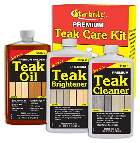 Star Brite Premium Teak Care Kit - 3 Easy-to-use 32 Oz Products to Restore, Beautify & Protect...