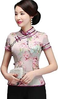 HTOOHTOOH Women Casual Qipao Cheongsam Short Sleeve Chinese Shirts