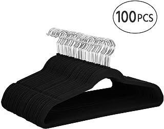 Yaheetech Non Slip Velvet Hangers - 100 Pack Clothes Hanger Hook Swivel 360 - Black