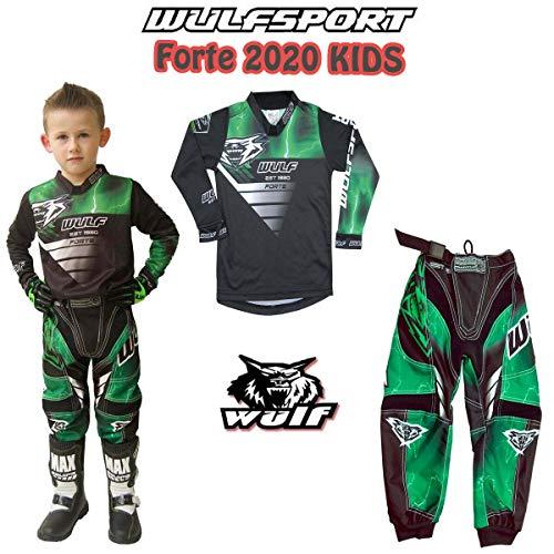 MOTORRADKOMBI Wulfsport Aztec 2019 Kinder Motorrad Anzug Motocross ATV Quad Cross Rennen MX Hose e Hemden Sport Bekleidung (Mehrere Farben) (Grun,11-13 Jahre, 26-Taille)