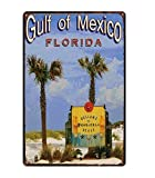 Retro City Florida Golfo De México Shabby Chic Carteles De Chapa Cartel De La Lona Bar De Pared Restaurante Arte del Hogar Decoración 40X50Cm (Jn4795)
