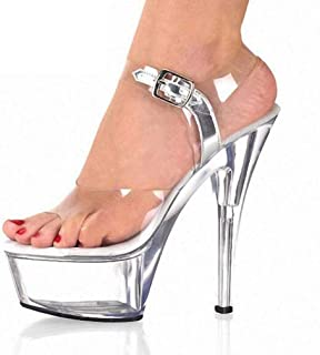 Women's Crystal Platform Sandals,Summer PeepToe Buckle Stilettos,Ideal for Party,Prom,Evening,Wedding Reception Etc Wedding Dress Shoes(Clear),Clear,39 EU