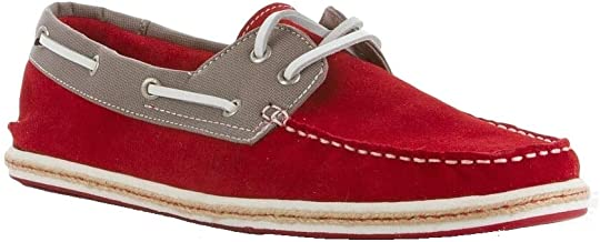 GBX Siesta Oxford Suede Lace-up Boat Shoe, Moc Toe - Red Aluminum
