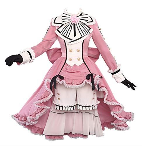 Kuroshitsuji Black Butler Ciel Phantomhive Cosplay Costume Pink Lolita Dress Halloween Costume Full Set (Female L, Costume)